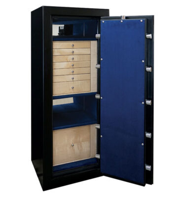 Emerald in Matte Black, Chrome, Curly Maple, Royal Blue, 7 Drawer + File