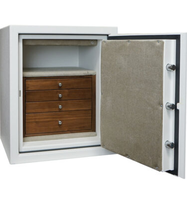 C21 in Textured White with Chrome and 4 Drawers in Walnut