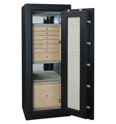 C54 in Textured Black with Chrome, Curly Maple, 7 Drawers, File, Necklace Panel