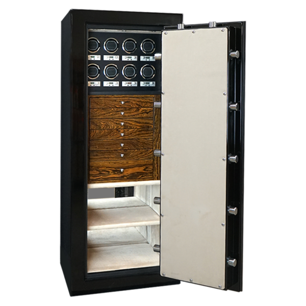 Emerald in Onyx with Chrome, Bocote, Oyster, 7 Drawers, 8 Watch Winders