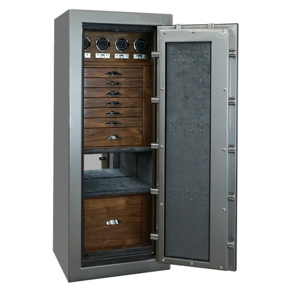 Emerald in Titanium with Chrome, Walnut, Charcoal, 7 Drawers + File, 4 Watch Winders