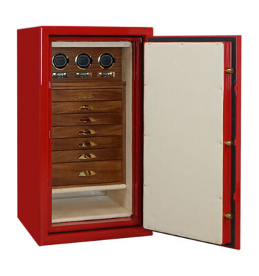 Amethyst in Hot Rod Red with 7 Cherry Wood Drawers and 3 Watch Winders