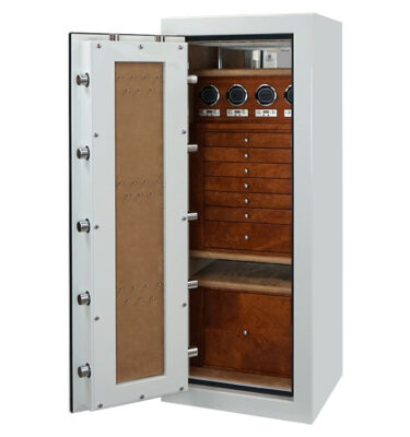 Emerald in Alabaster, Chrome hardware, 7 Drawers + File Mahogany, Camel Microsuede, Necklace Panel