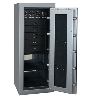 Emerald in Titanium with Chrome, 7 Drawers + File Blackwood, Ebony, 4 Watch Winders