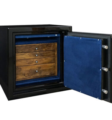 Sapphire 1716 in Onyx with Chrome, Distressed Walnut, Royal Blue, 4 Drawers