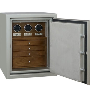 Sapphire in Platinum with Chrome, 3 Drawers in Walnut, Silver Mist, 3 Watch Winders
