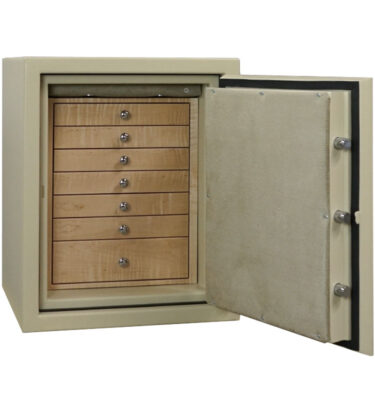 C21 Textured Parchment, Chrome, 7 Drawers in Curly Maple