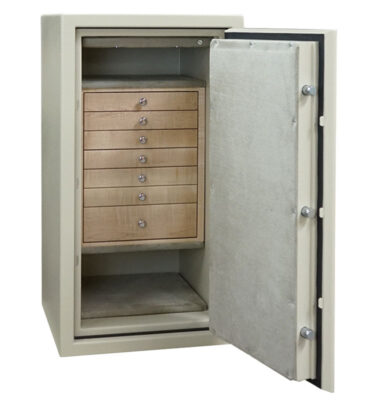 C34 in Textured Parchment, Chrome, 7 Drawers in Curly Maple