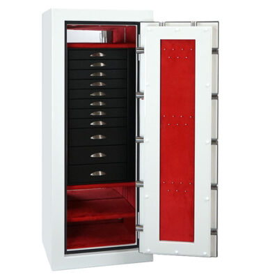 Emerald in Alabaster with Brushed Chrome, 11 Drawers in Blackwood, Crimson microsuede, Necklace Panel
