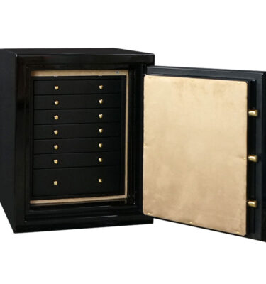 Sapphire in Onyx, Brass, 7 Drawers in Blackwood, Camel