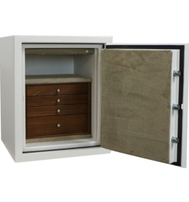 C21 in Textured White, Chrome, 4 Drawers in Walnut