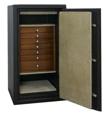 C34 in Textured Black with Chrome, 7 Drawers in Walnut