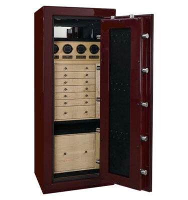 Emerald in Burgundy with Oil Rubbed Bronze, Curly Maple, Ebony, 7 drawers, file, necklace door panel and 4 Watch Winders