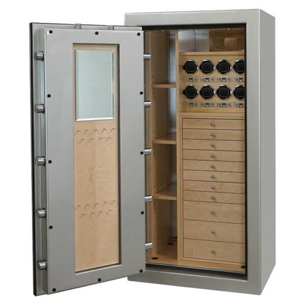 Ruby Elite in Platinum, Chrome, Curly Maple, 11 Drawers, 8 Watch Winders, Mirror, Necklace Panel