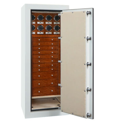 Emerald with RSCII in Alabaster, Chrome, Sepele, Champagne, 11 Drawers, 8 Watch Winders