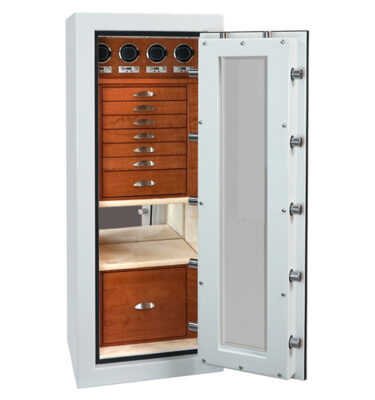 Emerald in Alabaster in Satin Chrome, Cherry, Champagne, 7 Drawers, File, 4 Watch Winders, Mirror