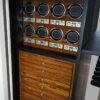 Ruby Elite in Alabaster with Bocote, 7 Drawers + File, 8 Watch Winders, Long Gun Rack