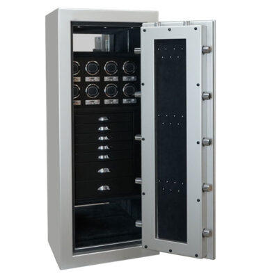 Emerald in Platinum with Chrome, 7 Drawers in Blackwood, Ebony, 8 Watch Winders, Necklace Panel