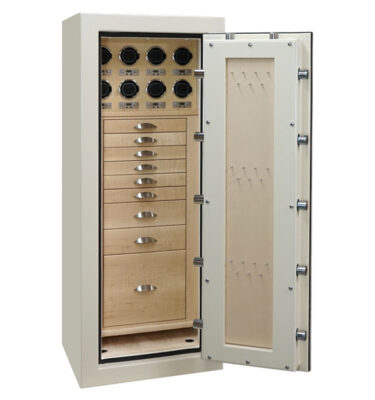 Emerald in Warm Cream, Satin Chrome, 8 Drawers + File in Curly Maple, Champagne, 8 Watch Winders, Necklace Panel