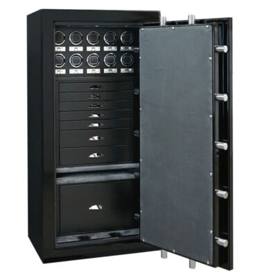 Ruby in Onyx, Chrome, Charcoal, 7 Drawers + File in Blackwood, 10 Watch Winders