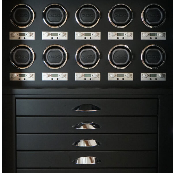 Blackwood Drawers and Watch Winder Panel with Polished Chrome Hardware