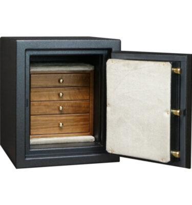 C15 in Textured Black, Brass, 4 Drawers in Walnut