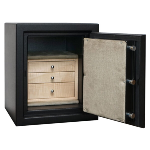 C15 in Textured Black, Chrome, 3 Drawers in Curly Maple