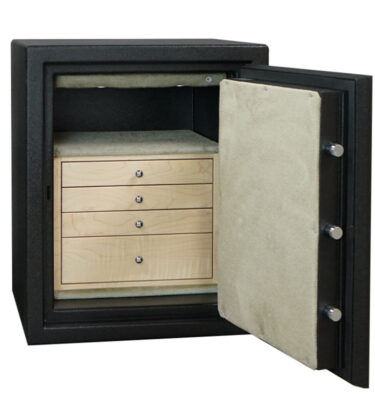 C21 In Textured Black with Chrome Hardware and 4 Curly Maple Drawers