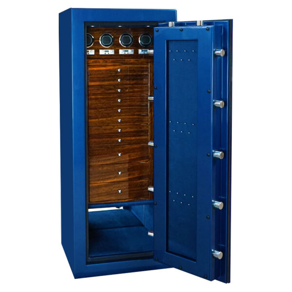 Emerald in Cobalt Blue with Chrome Hardware, Royal Blue Microsuede, Shedua with Piano Finish, 11 Drawers, 4 Watch Winders, Necklace Panel