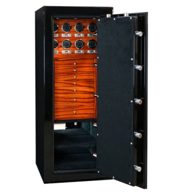 Emerald in Onyx with Chrome Hardware, Ebony MIcrosuede, 7 Drawers and Watch Winder Panel in Paduak