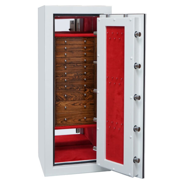 Emerald in Alabaster, Chrome, 11 Bocote Drawers, Crimson Microsuede, Necklace Panel