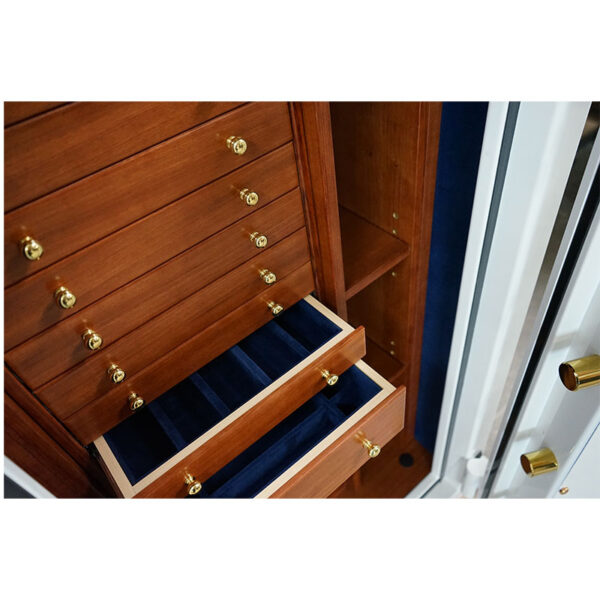 Ruby Elite Deep in Alabaster with Brass, Royal Blue microsuede, 11 Drawers + File in Bubinga