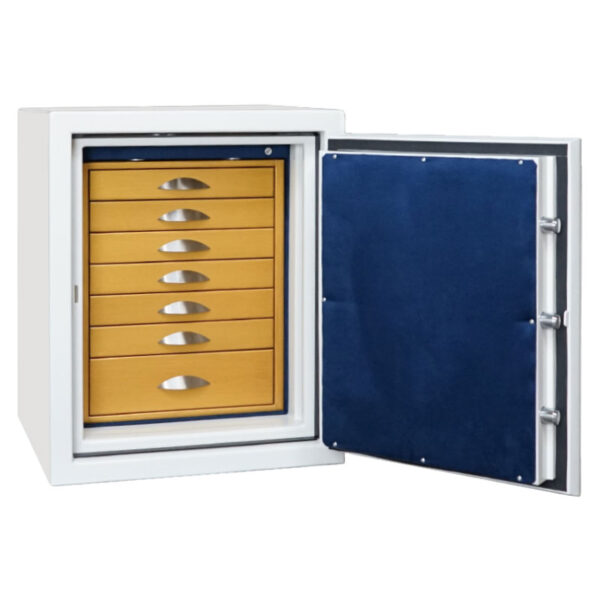 Sapphire in Alabaster, Satin Chrome, 7 Drawers in Goldenwood, Royal Blue Microsuede
