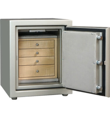 Topaz in Platinum with Chrome hardware, Silver Mist microsuede, 4 drawers in Curly Maple