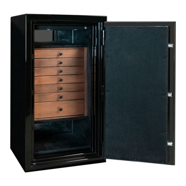 Amethyst in Onyx with Matte Black Hardware, 7 Drawers with Copper Finish
