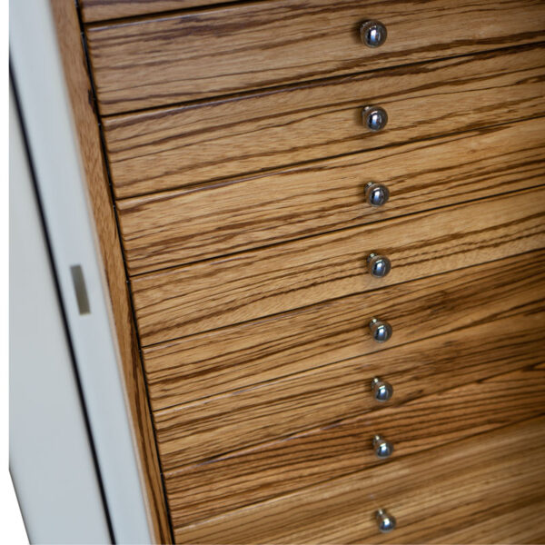 Amethyst in Alabaster with 11 Drawers in Zebra and Chrome Hardware