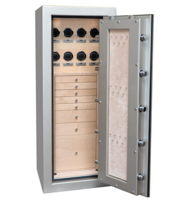 Emerald in Platinum with Chrome, Oyster, 7 Drawers + File in Curly Maple, 8 Watch Winders, Necklace Panel