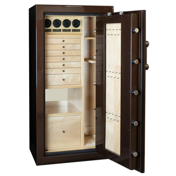 Ruby Elite in Chocolate Metallic with 7 Drawers + File in Curly Maple with Oil Rubbed Bronze Hardware, 4 Watch Winders and a Necklace Panel