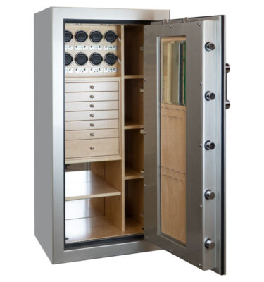 Ruby Elite in Platinum, Chrome, 7 Curly Maple Drawers, 8 Watch Winders, Mirror, Necklace Panel