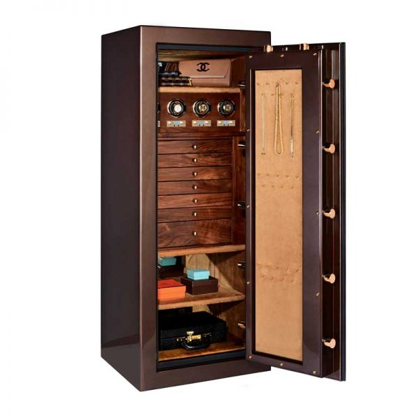 Emerald in Chocolate+Brass, Walnut and Camel with 4 Winders + 7 Drawers