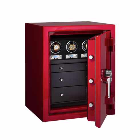 Sapphire in Hot Rod Red with Blackwood, Ebony, 3 Watch Winders