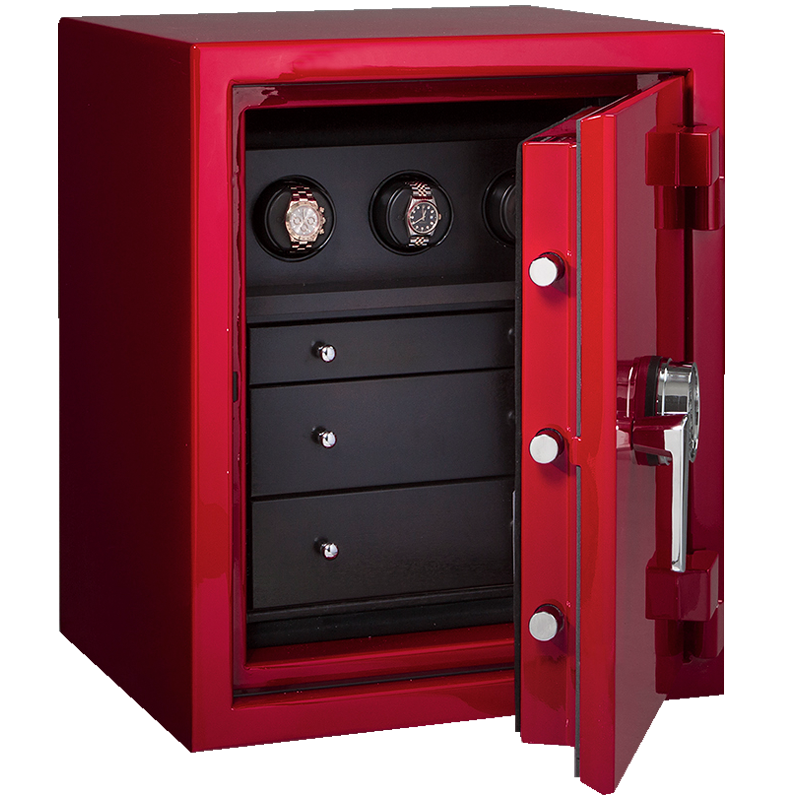 Shire In Hot Rod Red Blackwood Ebony Chocolate With Chrome Jewelry Safe