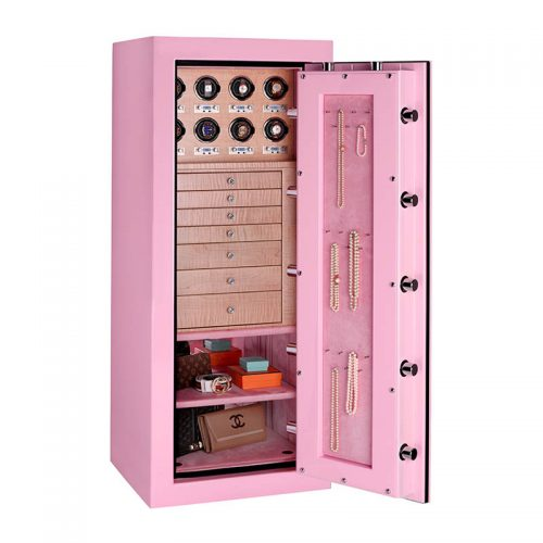 Emerald in Precious Pink with Rhinestone Drawer Pulls and 8 Watch Winders