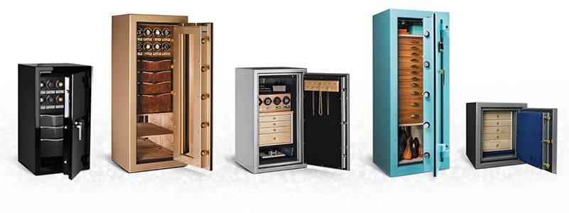 Luxury Safes in multiple colors, sizes, options, features, and configurations. Ready to ship in 3-5 days - Tall safe, medium, short safe, compact safe, Gold jewelry safe, metallic safe, black safe, small personal safe for home use, safes for business use.